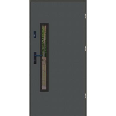 Drzwi wejściowe stalowe zewnętrzne LUX PŁASKIE 76 BLACK