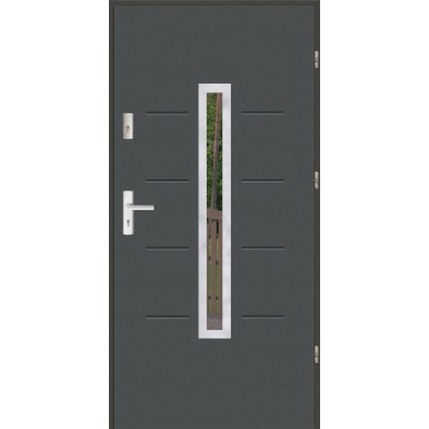Drzwi wejściowe stalowe zewnętrzne SP GALA 74 INOX