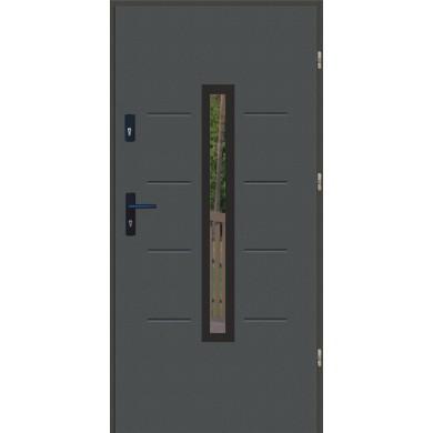 Drzwi wejściowe stalowe zewnętrzne LUX GALA 74 BLACK