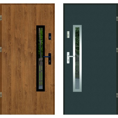 Przeszklenie i ramka do drzwi wejściowych wzór 77 INOX i BLACK
