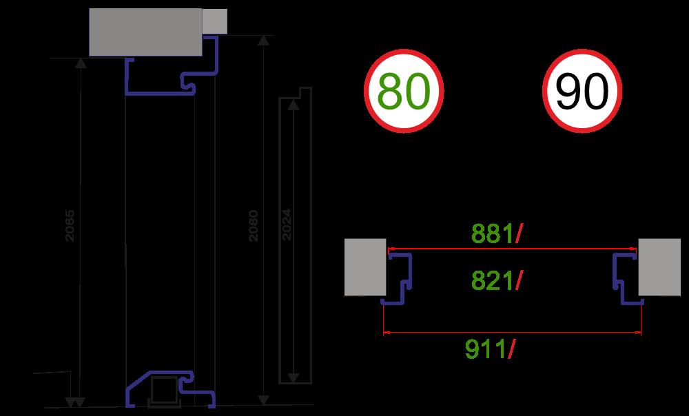 Wymiary Drzwi SP 55 55mm