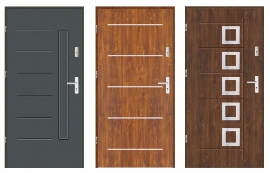 Drzwi weściowe zewnętrzne stalowe pełne, laminowane, pokryte okleiną PCV drewnopodobną odporną na warunki atmosferyczne.Grubości skrzydła 72 mm, wypełnione polistyrenem spienionym.