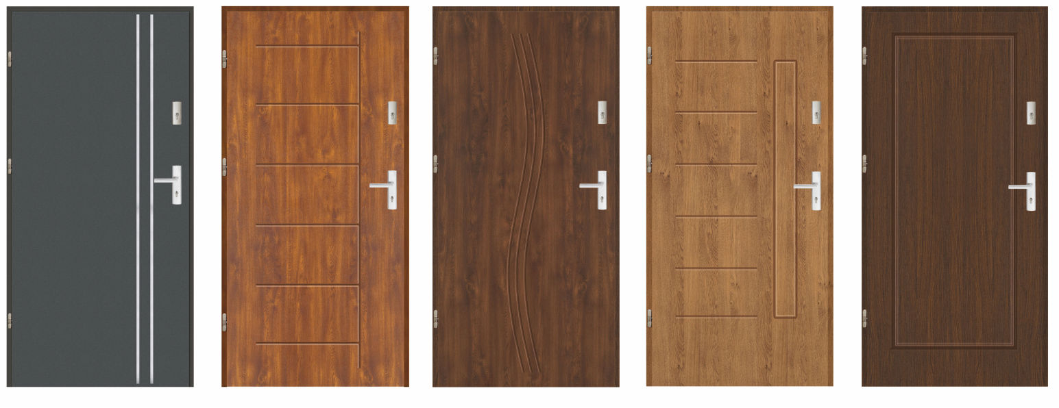 Drzwi weściowe zewnętrzne stalowe pełne, laminowane, pokryte okleiną PCV drewnopodobną odporną na warunki atmosferyczne.Grubości skrzydła 55 mm, wypełnione polistyrenem spienionym.
