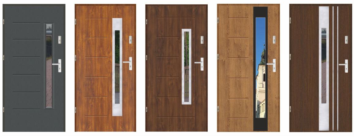 Drzwi weściowe zewnętrzne stalowe szklone, laminowane, pokryte okleiną PCV drewnopodobną odporną na warunki atmosferyczne.Grubości skrzydła 55 mm, wypełnione polistyrenem spienionym.